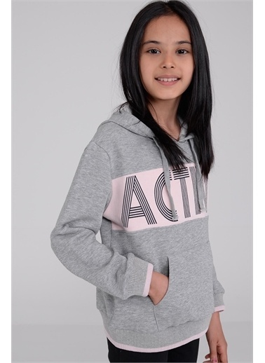 Silversun Kids Kapşonlu Baskılı Uzun Kol Kız Çocuk Tişört Js 314990 Gri